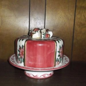 Red Cake Plate, with cover